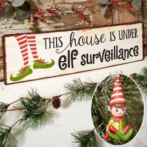 LAST ONE! NEW Elf Surveillance Tin Holiday Sign